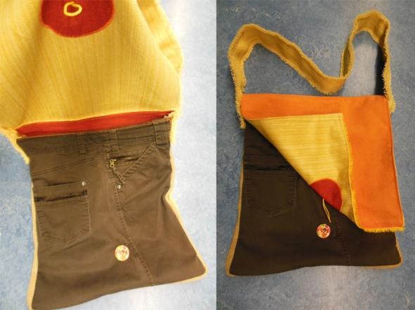 wunderschöne Tasche aus Hose und Stoffen